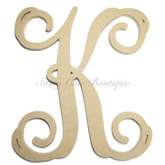"12"", 15"", 18"", 21"", and 24"" Unfinished Single Wooden Monogram - Uppercase ""K"" - Vine font - 1/2"" thick Single wooden monograms can be done in any letter you prefer. PLEASE make certain you type in the                                                                                                                                                      More"