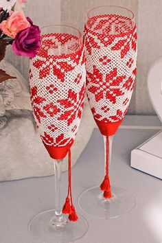 Exclusive wedding glasses. Original painting technique — Ukrainian embroidery. One-of-a-kind wedding flutes for Ukrainian style wedding by Shuflada on Etsy https://www.etsy.com/listing/232577423/exclusive-wedding-glasses-original