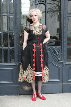 """1920s Vintage Dress - Exquisite Robe de Style of Silk Satin, Chiffon and Lace with Panniers and Handtied Flowers"""