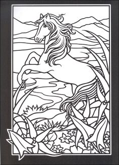 Stained Glass Coloring Book Fresh Stained Glass Windows to Color Wild Horses Stained Glass Coloring Book Horse Coloring Pages, Colouring Pages, Coloring Pages For Kids, Coloring Books, Colouring Sheets, Printable Adult Coloring Pages, To Color, Stained Glass Patterns, Painting Patterns