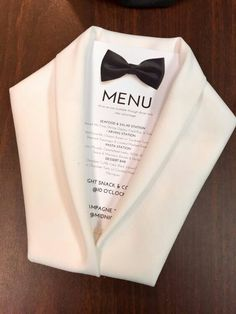 Getting ready for New Years Eve! Tuxedo napkin folded menus :) Beautiful centrepieces and place setting ideas for events and parties New Year's Eve 2019 : menu costume noeud papillon mariage - Quotes Boxes This tuxedo jacket napkin fold would be ideal for Wedding Table, Wedding Reception, Dress Wedding, Reception Seating, Wedding Seating, Wedding Menu, Wedding Favors, Wedding Rings, Wedding Ideas