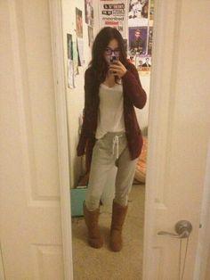 ugg boots gray sweat pants loose white t shirt burgendy sweater