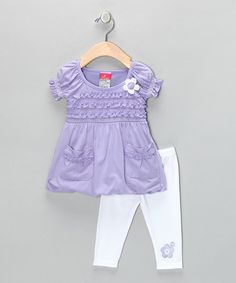 Take a look at this Purple Floral Peasant Tunic & Leggings - Girls by Blow-Out on #zulily today!