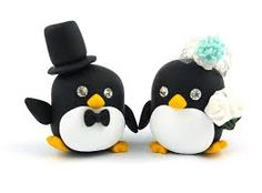 penguin bride and groom cake topper - Google Search