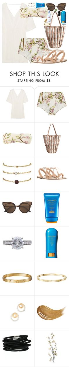 """She wakes up like this"" by carolsposito ❤ liked on Polyvore featuring ViX, Dolce&Gabbana, Zimmermann, Bottega Veneta, Shiseido, Cartier, Madewell, Evian, Too Faced Cosmetics and Pier 1 Imports"