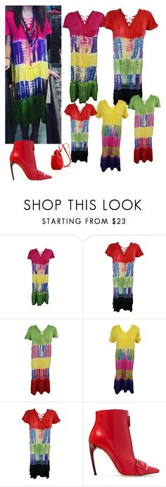 """""""Tie-Dye Embroidered Caftan Dress"""" by tarini-tarini ❤ liked on Polyvore featuring Alexander McQueen and Meraki"""