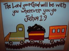 Custom Hand Painted 16x20 Train Canvas. $40.00, via Etsy.