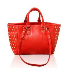 I am obsessed with a pop of red in my wardrobe!   $14.53 Vintage Trendy Casual Women's Tote Bag With Rivets Pure Color and PU Design