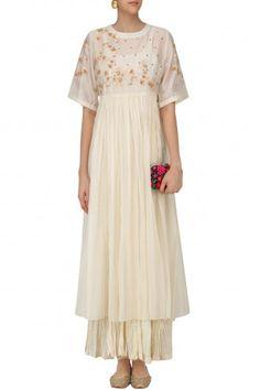 Prama by Pratima Pandey Ivory Embroidered Long Dress with Crushed Anarkali #happyshopping #shopnow #ppus