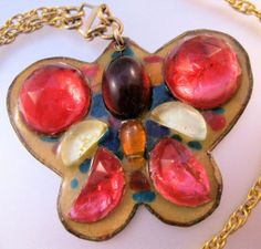 RUTH BUOL Butterfly Pendant Necklace Mid Century Enamel Copper Fused Glass, on Ruby Lane