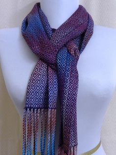 I want to do this pattern! Handwoven Bamboo Scarf Purple Pink Lavendar by eweniquelyewe
