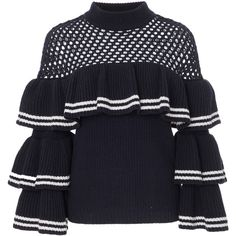 Self Portrait Open-Knit Wool and Cotton-Blend Sweater (£315) ❤ liked on Polyvore featuring tops, sweaters, shirts, navy, navy blue tops, open-knit sweaters, ruffle shirt, ribbed shirt and wool sweaters
