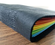 Leather Journal Notebook Hand Stitched Rugged Black Leather A5 200 pages Rainbow 80 gsm paper