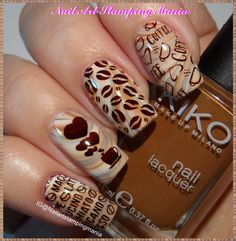 Nail Art Stamping Mania: UBERCHIC BEAUTY Uber Mini Coffee Addict. I like this mani a-latte! I need this coffee themed manicure in my life as much as I need coffee! I love nail art! Nail stamping is an easy way to get beautiful nails with amazing detailed designs.