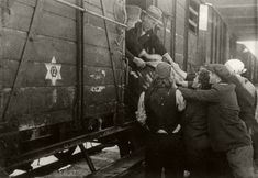 Jews board trains bound for Treblinka, Skopje, March 1943. On the morning of 28 March 43, the 1st transport of Jews from Macedonia arrived at Treblinka after a 6 day journey