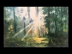 Watercolor painting without drawing of a beautiful forest landscape. Process of watercolor painting step by step full length demonstration by Prashant Sarkar. Watercolor Sunset, Watercolor Landscape Paintings, Landscape Artwork, Sunset Landscape, Forest Landscape, Watercolor Trees, Landscape Drawings, Watercolour Tutorials, Watercolor Techniques