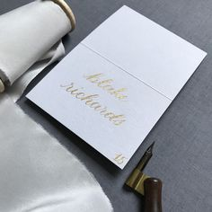 Gold and gray calligraphy place card- rehearsal dinner, wedding, bridal shower, fall wedding