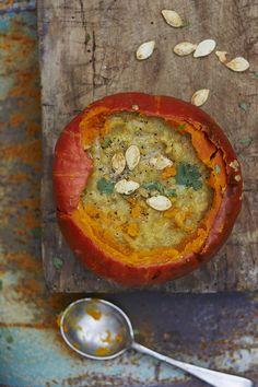 Pumpkin & Lentil Soup. Soup in a bowl…