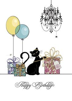 """Balloons & Gifts"" birthday cat"