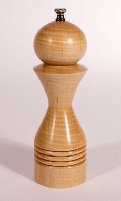 Curly Ash tall Handturned Wooden Spice Mill Salt or Pepper 7 in
