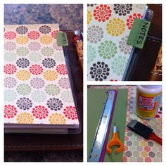 I made my own Filofax tabs using mod podge, a sponge brush, a razor, a hole punch, and some scrap booking paper I liked. :D