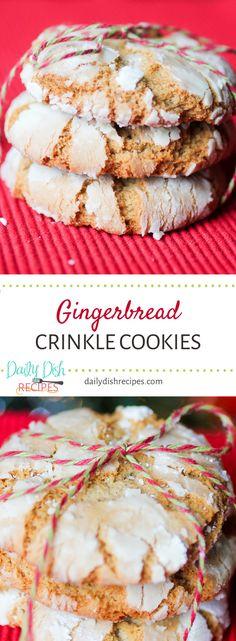 Gingerbread Crinkle Cookies via @dailydishrecipes