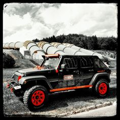 Hydroelectric power station  Żarnowiec in the backgroud with Jeep Wrangler made Burrow Customs. #Orange #Jeep #JeepWrangler #Jeeppolska #Summertime #Jeep#custom