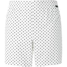 Dolce & Gabbana Underwear polka dots shorts ($92) ❤ liked on Polyvore featuring men's fashion, men's clothing, men's shorts, white, mens polka dot shorts, mens white shorts, dolce gabbana mens clothing, mens white cotton shorts and mens cotton shorts