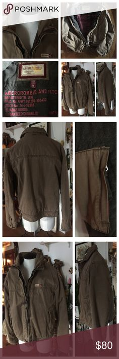Vintage ABERCROMBIE & FITCH Men's Jacket Super warm, soft and comfy!!! Vintage 80's Jacket in a light tobacco brown ~ Men's Size M/M. Shell 100% Cotton/Body Lining 20% wool, 50% polyester, 30% acrylic. Sleeve lining 100% polyester. Filler 100% Polyester. Collar made to look weathered. Two side pockets and zippered front. Inside pocked with metal zipper.  In excellent preowned condition. Smoke-free home. Abercrombie & Fitch Jackets & Coats