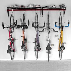 vertical bicycle storage but I'd like to find one to hang both wheels
