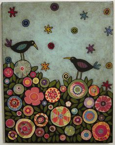 flickr: karlagerard - Two funky birds in the flowers. Collage and acrylic painting