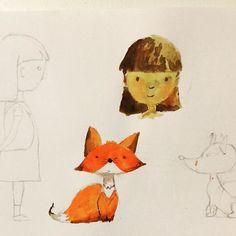 Character development #illustration #characters #girl #fox #kidsbooks #aquarelle #sketch