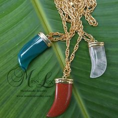 Large Gemstone Horn Pendant Necklace on 30 Gold by MissLexJewelry  www.misslexjewelry.com