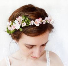 pale pink flower crown, flower girl circlet, cherry blossom hair accessory - PEEK-A-BOW - spring green, headpiece