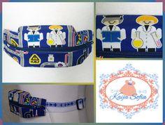 Insulin pump belt made with cute scientists fabric by KaijaSofia