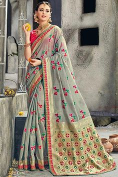 Grey Weaving Print Traditional Saree in Art Silk