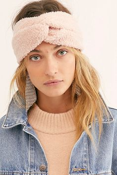 Time Out Fleece Headband by Free People, Pink, One Size Tie Headband, Free People Store, Keep Warm, Hair Ties, Winter Hats, Hair Accessories, Pink, Plush, Detail
