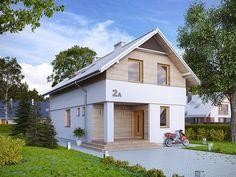 Projekt powstał z myślą o inwestorach, którzy planują zbudować dom w technologii murowanej. Attic House, Gable Roof, Modern Materials, Interior S, Home Fashion, Bungalow, House Plans, Shed, Outdoor Structures