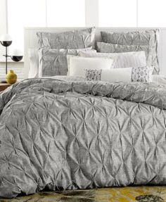 Bar III Diamond Pleat King Duvet Cover bed