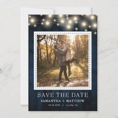 Navy Rustic Wood String Lights Photo Wedding Save The Date - When you are having a rustic-inspired wedding and you want navy this wedding suite accomplishes both. This invitation features a navy rustic wood background, string lights, and a photo.
