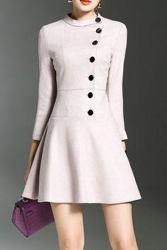 Joy&joso Shallow Pink Button Down Ruffle Mini Dress | Mini Dresses at DEZZAL