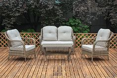 Living Express Outdoor Patio Rattan Wicker Conversation 4 Piece Set with Cushion Beige -- Want to know more, click on the image.