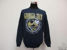 Vtg 90s Tultex Georgia Tech University Yellow Jackets Sweatshirt sz 2XL XXL NCAA #Tultex #GeorgiaTechYellowJackets