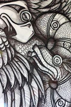 Cherokee Uktena, pin and ink Joshuaadamsart.com Forensic Facial Reconstruction, Cherokee History, Echidna, Native American Artists, Tattoo Ideas, Carving, Dreams, Ink, Tattoos