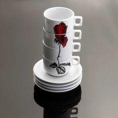 Conjunto de Xícaras Flor Vermelha   iBacana