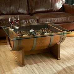 Coffee table made from Wine barrel. I LOVE THIS!!!!