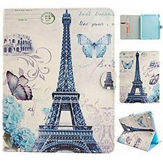 Wkae Paris torre de dibujo coloreado o funda folio patrón de cuero de la PU funda de la tableta para el ipad 4/3/2 DIEBELLES