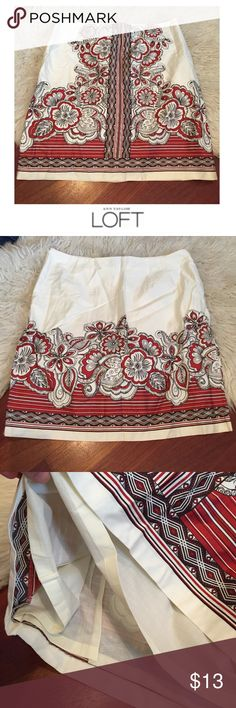 Ann Taylor LOFT Black & Red Print Cream Skirt Ann Taylor LOFT Black & Red Print Cream Skirt. 20 inches long. Lined. 17 inch waist. New with tag. One small red mark on the front, I haven't tried to get it out, see last photo. Otherwise perfect condition. Feel free to make an offer or bundle & save: LOFT Skirts