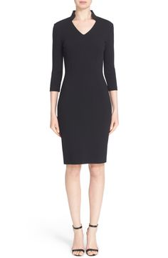 Free shipping and returns on St. John Collection Luxe Sculpture Knit Sheath Dress at Nordstrom.com. Styled with a face-framing stand collar and three-quarter-length sleeves, this expertly tailored sheath looks sophisticated day or night. The supple fabrication boasts the structure of a woven but maintains the comfort and stretch of a fine knit, making this classic LBD even more wearable.