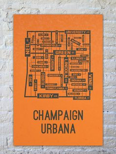 """University of Illinois Champaign-Urbana Fighting Illini Poster Print is 13"""" x 19"""". Looks great in a dorm room or office. Great presents for men. $22 @ SchoolStreetPosters.com"""